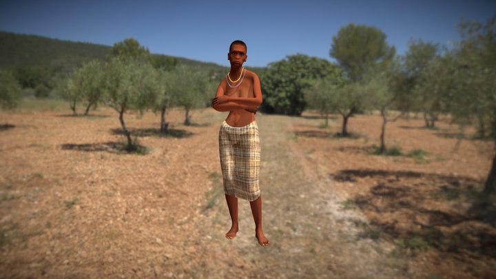Tribe´s Ancient African Female Clothes 3D Model