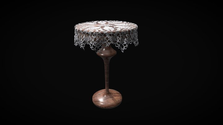 Pedestal Table (round wooden) 3D Model