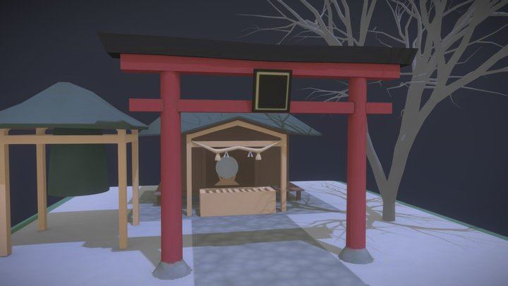 Shinto shrine on the hill 3D Model