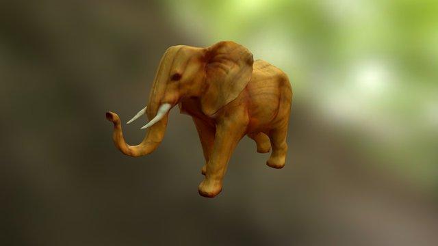 Wooden Elephant 3D Model