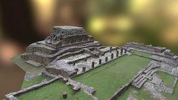 Hall & Temple North Side of Mayapan's Main Plaza 3D Model