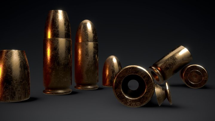 9x19mm (Luger/Parabellum) ammo 3D Model