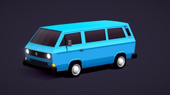 Cartoon Low Poly Volkswagen T3 UVW 3D Model
