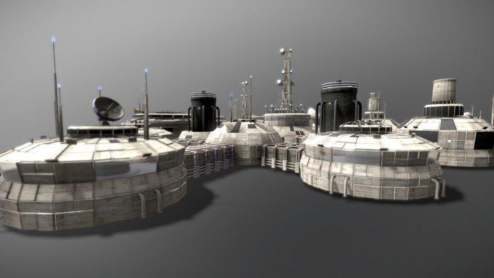 Modular Moon And Mars base 3D Model