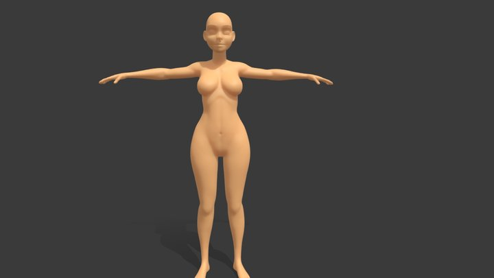 Base Mesh Woman Cartoon 3D Model