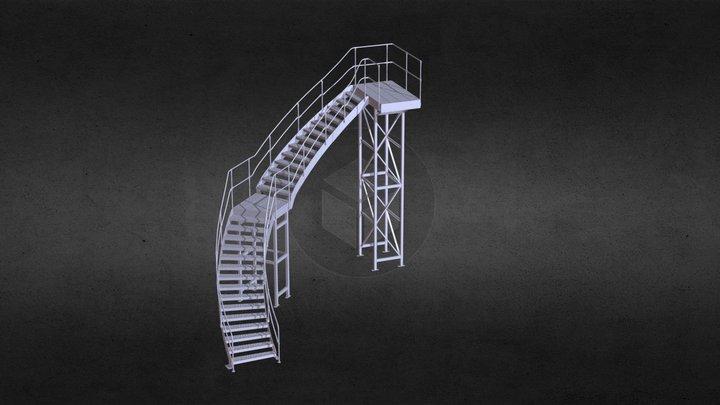 Industrial Stairway 3D Model