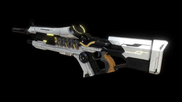 Futuristic Fire Rifle 3D Model