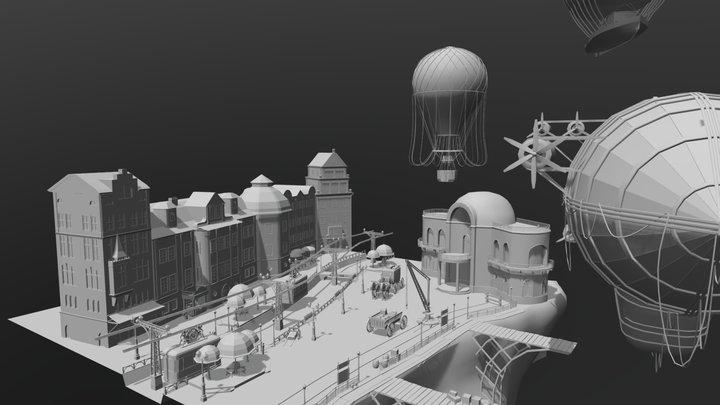 "Blocking ""Air station"" 3D Model"