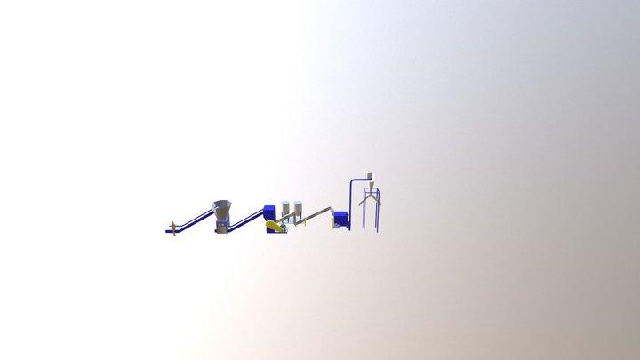 Rotajet Shredding, Granualtion And Washing Line 3D Model