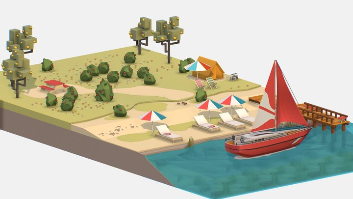 Isometric Red Yacht Scene MotorBoat Red 3D Model