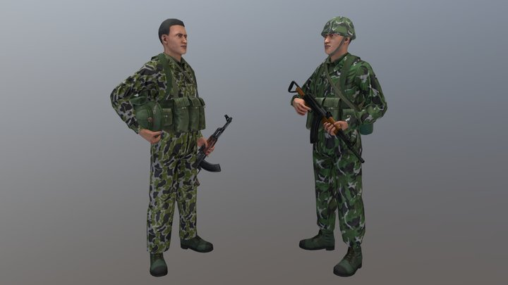 China-Vietnam Border War Soldiers 3D Model
