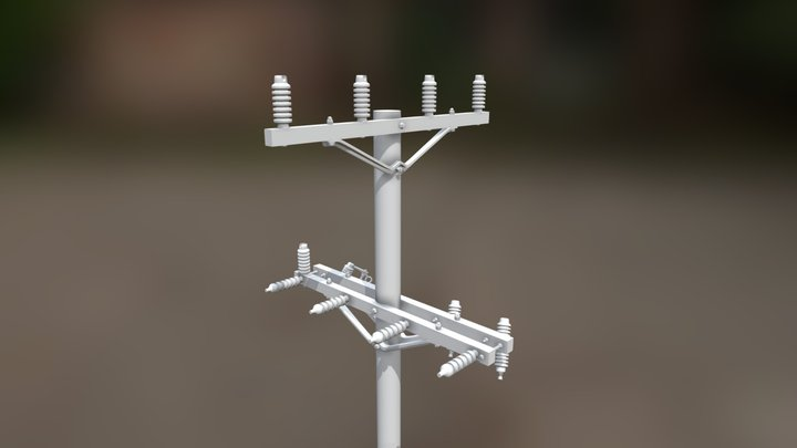 Cross-armed Power Pole - 1/24 Scale