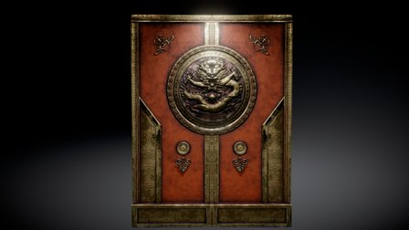 Old Gold Chinese Door 3D Model