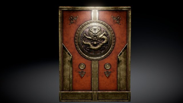 Old Gold Chinese Door 3D Model