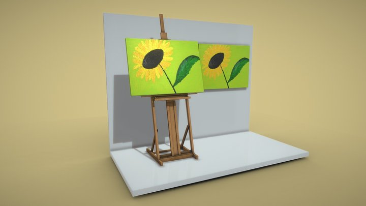 Yellow Flower - Oil Painting 3D Model