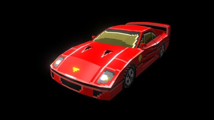 Low Poly Pixel Art Sport Car 3D Model