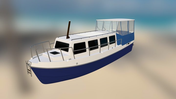 Jacht Motorowy Vistula Cruiser 30 z namiotem 3D Model