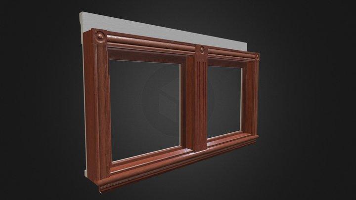 Lowpoly Antique Window (34in 1 Light Double) 3D Model