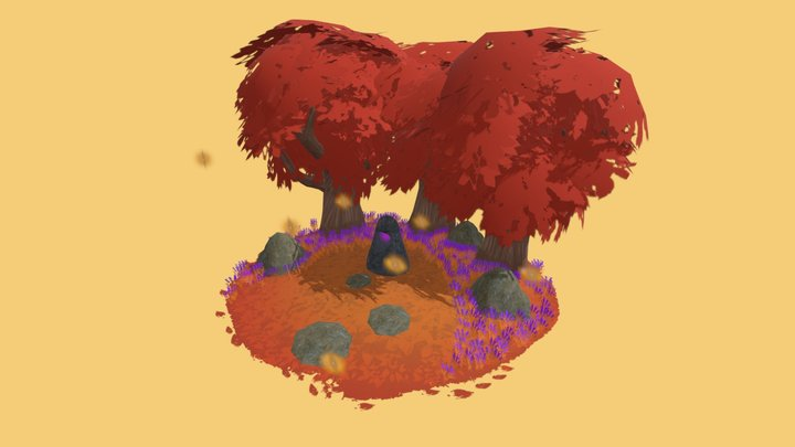 Fall Standing Stone 3D Model