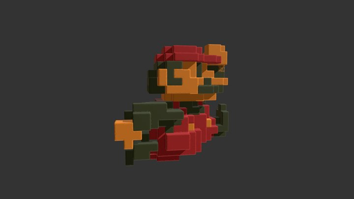 Voxel Mario 3D Model