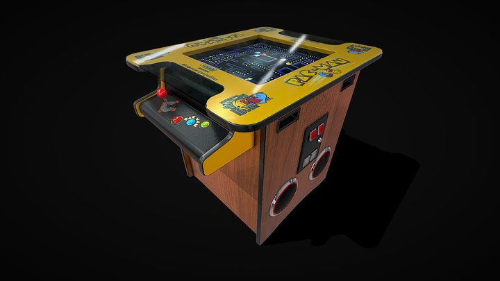 Classic Cocktail Table Arcade Game Machine 3D Model
