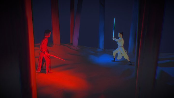 "Kylo ren vs Rey ""Star Wars 7 : The force awaken"" 3D Model"