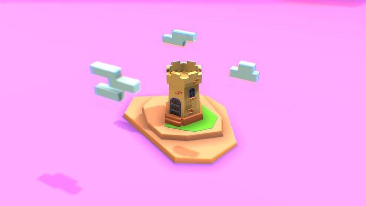 Low poly Castle Tower 3D Model