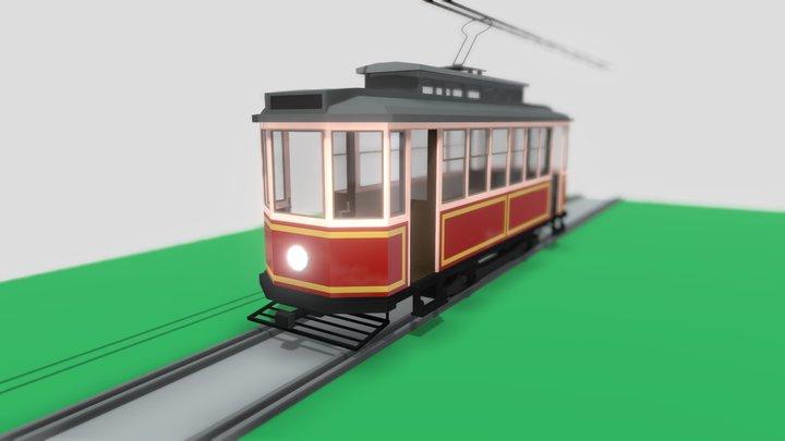 Lowpoly Vintage Streetcar 3D Model