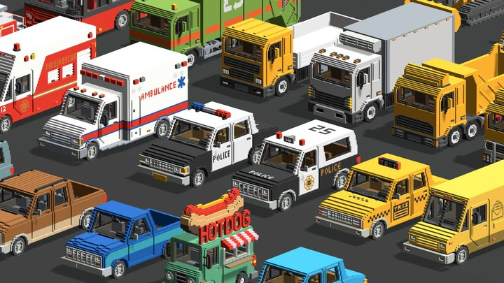 Voxel Vehicles Pack (24 Vehicles) 3D Model
