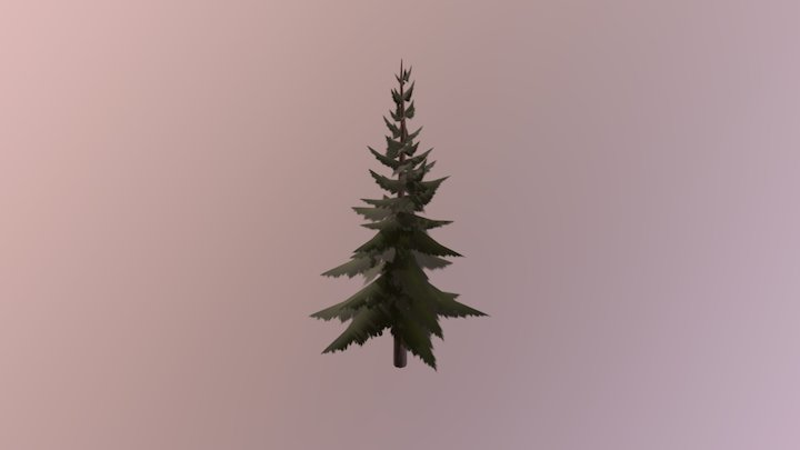 Hand painted pine tree 3D Model