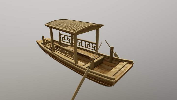 Traditional Asian wooden boat 3D Model
