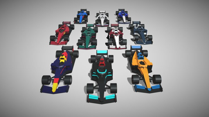 [Vehicle] Low-Poly F1 2021 Cars Pack 3D Model