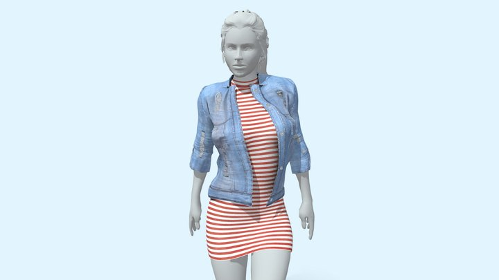 Female Outfit with Denim Jacket 3D Model