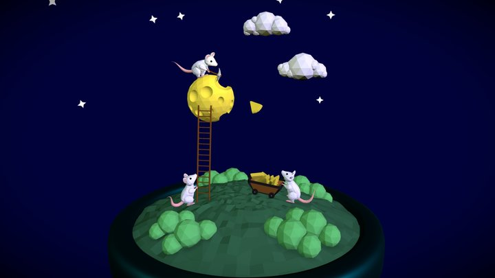 Mice Waning the Moon 3D Model