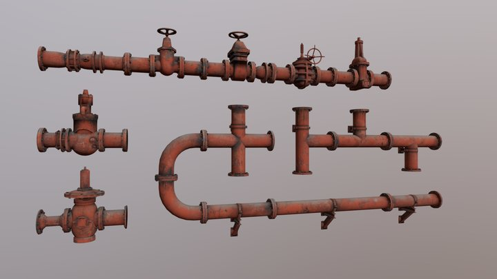 Low Poly Pipes 2 Pack 3D Model