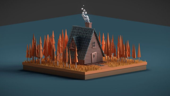 Lowpoly Autumn Cabin 3D Model