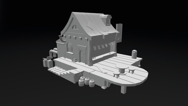 Cartoonish Restaurant 3D Model