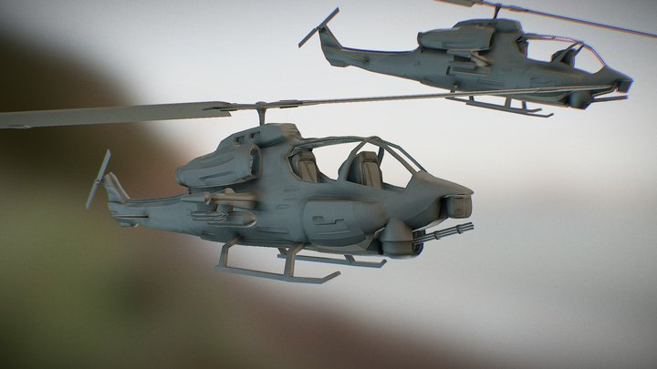 AH-1W AH-1W Super Cobra Heli 3D Model