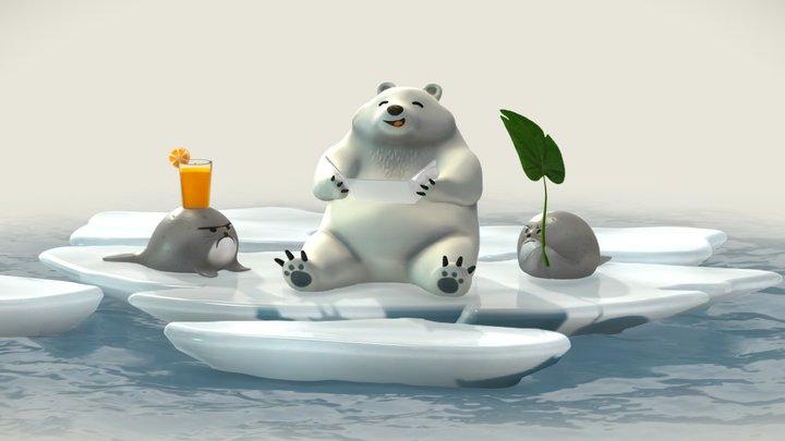 Sun Bath Scene 3D Model
