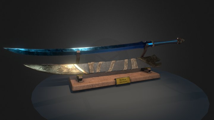 The Magic blue Sword 3D Model