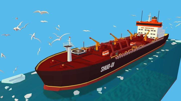 Isometric Boat Ship Red Oil Tanker in Ocean 3D Model