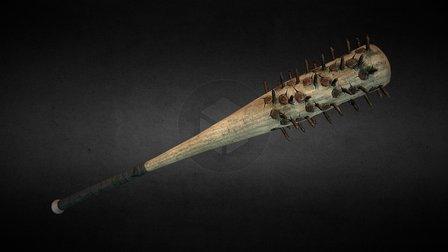 Baseball Bat with Rusted Iron Nails 3D Model