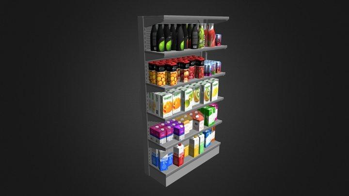 Market Shelf - Milk and Juices 3D Model