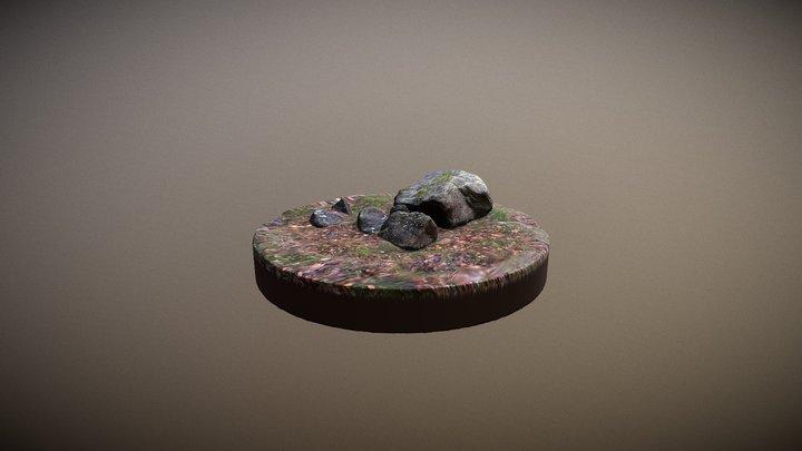 Grey Granite Stones 3D Model