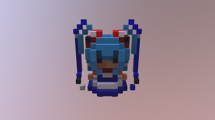 Magica Voxel Anime Girl 3D Model