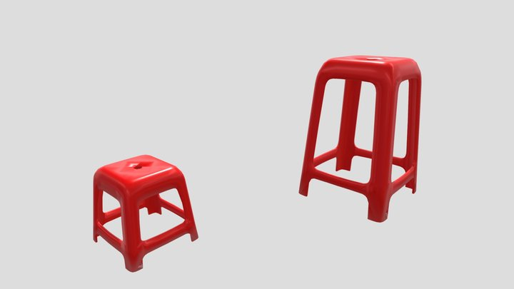 Red stools - Welcome to Vietnam 3D Model