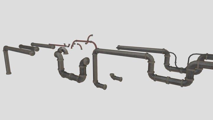 Sci-Fi Machinery: Pipes Modular Asset Pack 3D Model