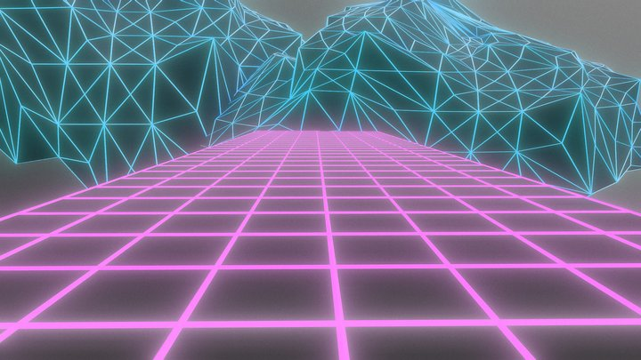 90s Vaporwave Neon Grid (animated) 3D Model