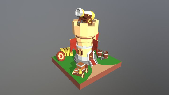 Cannon Tower Lowpoly 3D Model
