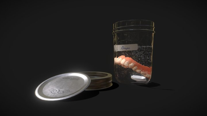 Wide-Mouth Glass Mason Jar, Metal Lid 3D Model